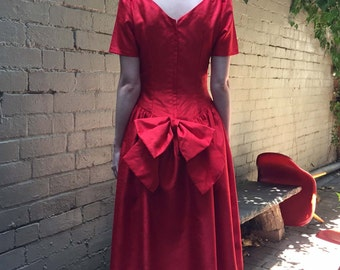 Red Bow Dress - 80s Vintage Prom Dress