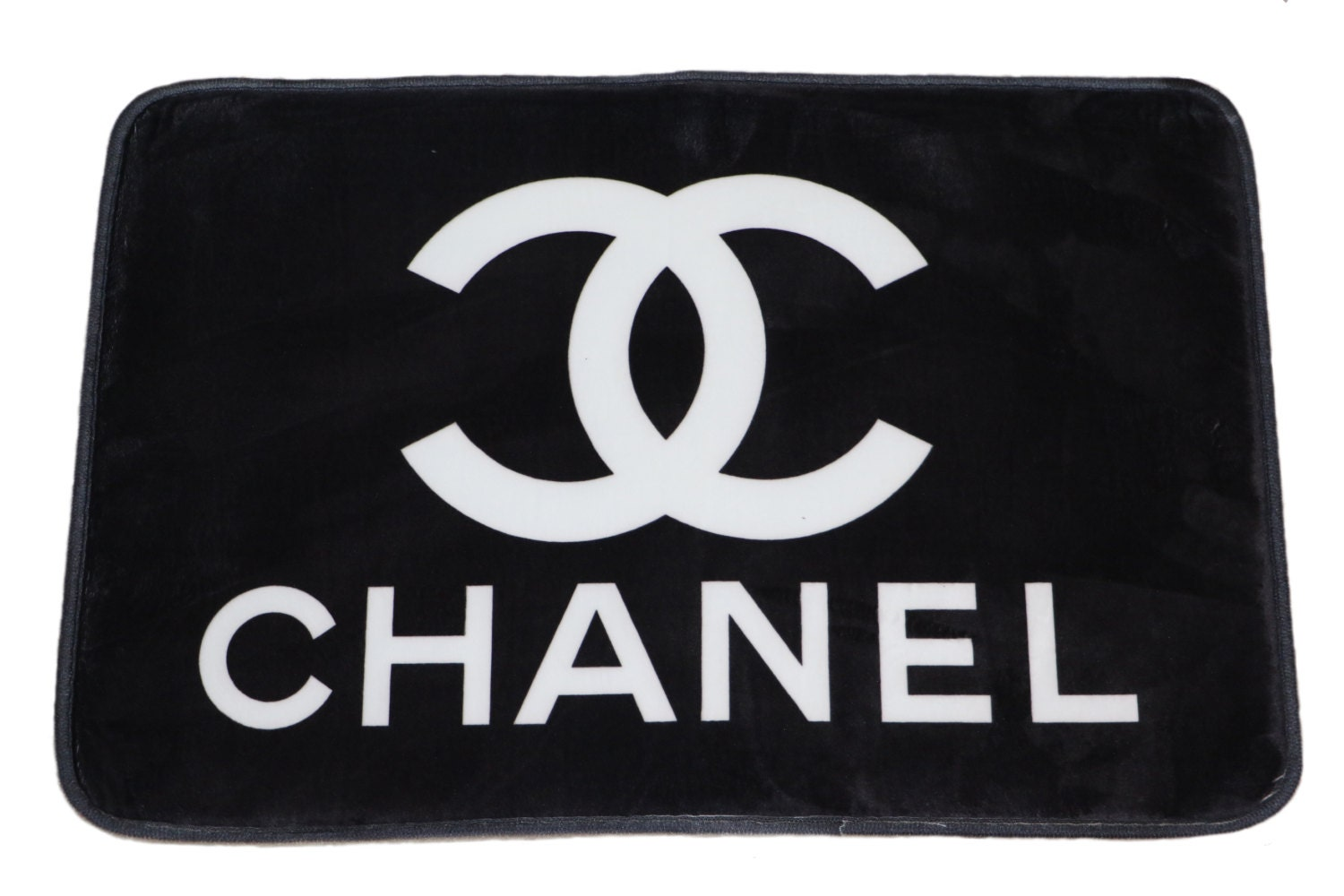 Small Chanel Inspired Black White Bathroom Mat By