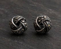 Sterling Silver Marcasite Round Knot Stud Earrings with free luxury box - free UK delivery