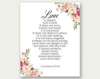 Love Is Patient, Love Is Kind, 1 Corinthians 13:4-8, Bible Print, Wedding Printable, Bible Wall Art, Christian Wall Art, Scripture Print