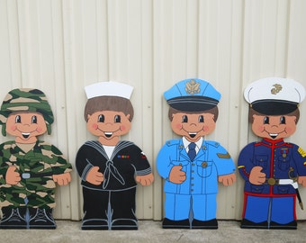 Dress Up Darlings Cute Kids Military Boys Choose from Four (4) Branches of Service Patriotic 4th of July Yard Art Lawn Decoration