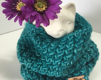 Slouchy teal knitted wool cowl