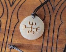 Horn pendant, talisman necklace, viking amulet, gibu auja, rune viking, lucky charm, fantasy, medieval, historical, gothic