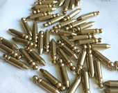 Bullet Charm Pendant for DIY jewelry - 1 Loop Bullet - 19x4mm - RAW Unplated Brass - sold as batch of six (6) pendants