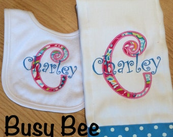 Appliqued Letter and Personalized Name Burp Cloth and Bib Set