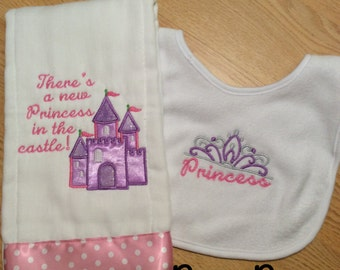 There's  New Princess in the Castle Burp Cloth and Bib Set