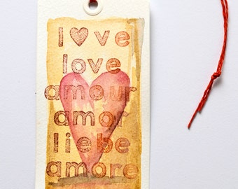 Tags painted original watercolor LOVE SERIES