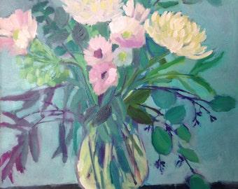 Blue Floral with Vase