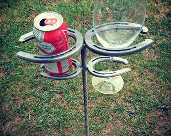 Rustic Outdoor Horseshoe Drink Holder Spikes, Country Custom Living
