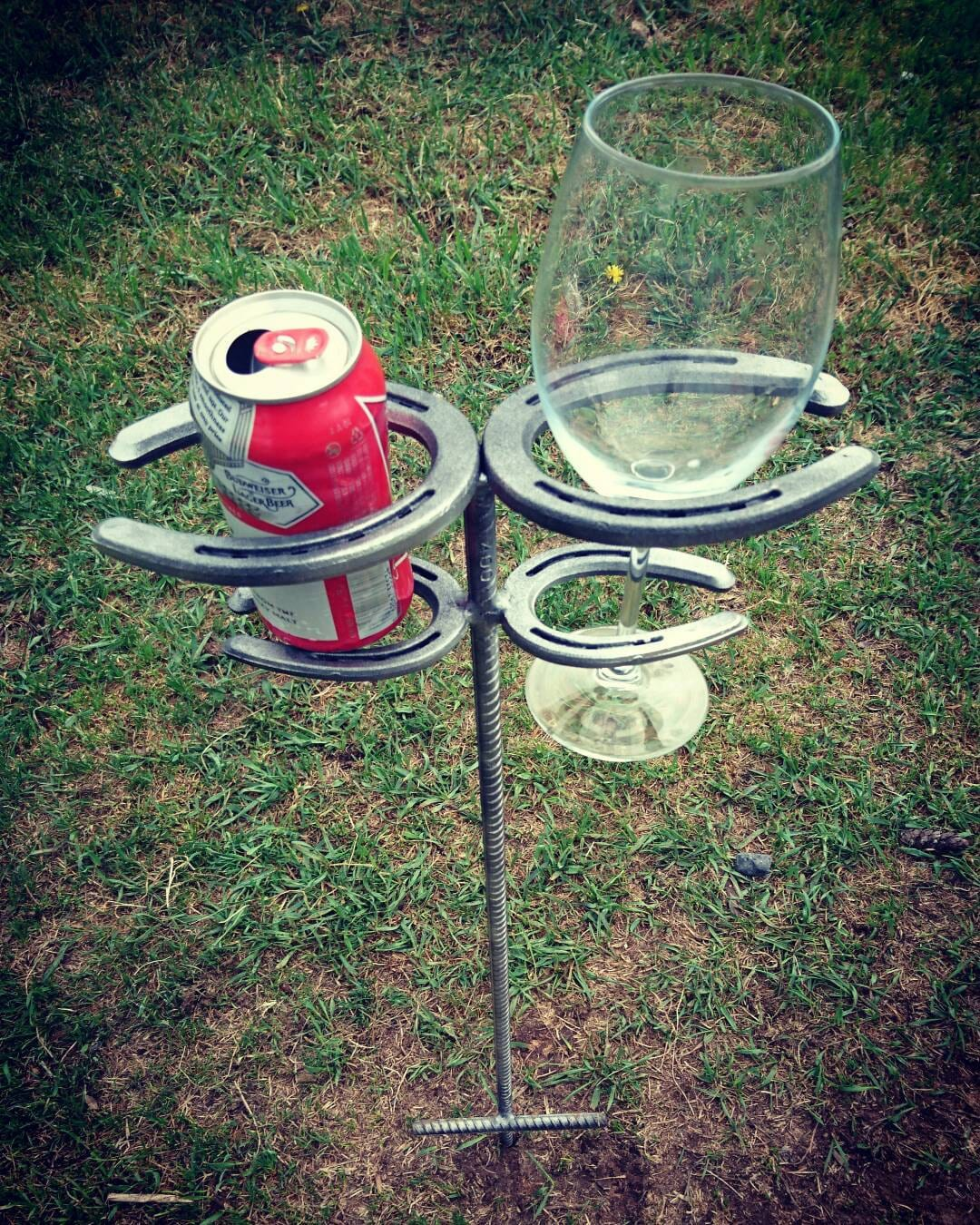 Rustic Outdoor Horseshoe Drink Holder Spikes By