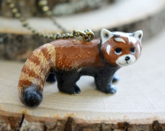 Hand Painted Porcelain Red Panda Necklace, Antique Bronze Chain, Vintage Style Red Panda, Ceramic Animal Pendant & Chain (CA048)