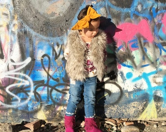 Baby girl headwrap, headband, bows, mustard yellow