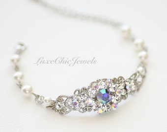 Bridal Bracelet, Swarovski Crystal and Pearl Bracelet, Wedding Jewellery - Emma