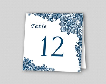 Lace Wedding Table Number Template, Navy Blue Wedding Table Numbers, Wedding Table Tents, Printable Table Numbers - Elegant Lace Navy Blue