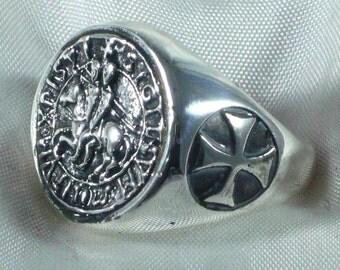 Anello sigillo templari e croci in argento 925 millesimi sterling silver templar knight ring