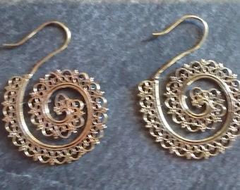 Brass Spiral earrings,gypsy hoops,boho, Indian brass