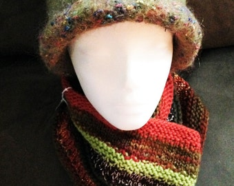 Olive Felted Hat and Warm-toned Scarf