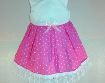 eyelet pink polka dot twirll dress