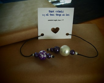 Book Thong, Book Mark, Beaded book thong, cord book mark, purple and large white beads