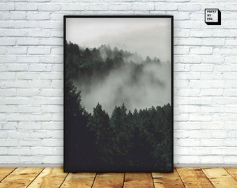 Misty forest print, Instant Download, Digital print, Woodland, Wall Art , Photography, Nature landscape