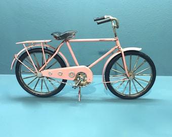 Vintage pink bicycle miniature,Decorative collectible,Miniature bicycle,Pink bike model,hand painted miniature,Doll bike,Doll bicycle model