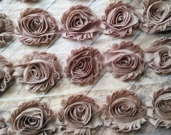 "New* Solid Sand 2.5"" Shabby Flower Rose Trim U Pick By the Yard DIY"