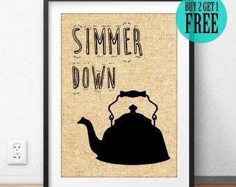 Simmer Down Water Pot Burlap Print, Kitchen Wall Art, Rustic Kitchen Decor, Burlap Home Decor, Housewarming Gift, Gift for Mother, SD31