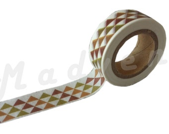 A masking tape 10 m / washi tape (adhesive tape) triangles Brown and khaki 1.5 cm x 10 m