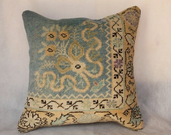Oriental Hand Woven Turkish Old Rug Pillow,Turkquoise Rug Pillow,Carpet Cushion