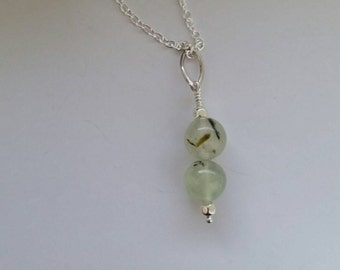 Prehnite Necklace, Pendant, Charm, Sterling Silver Jewelry, Crystal Healing, Healing Pendant, Green Pendant, Dangle
