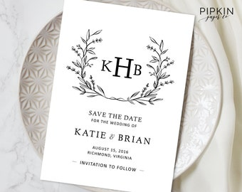 Printable Save the Date Template | Digital Download for Word | Floral Wreath Invitation | Fully Customizable