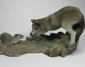 Wolf Sculpture, Wolf vs. Badger, The Stand Off, Living Stone Inc, 1994, Animal Decor, Man Cave