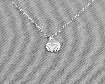 Delicate Shell Charm Necklace, Sterling Silver Necklace