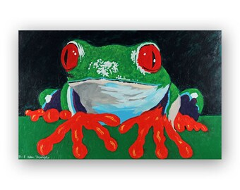 Frog Painting Print - Large Home Decor Wall Art Print of Acrylic Painting - Wildlife Animal Painting Print - Red, Green