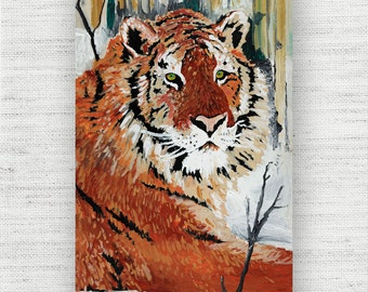 Tiger Painting Print Canvas Art from Wildlife Fine Art Canvas Painting - Tiger Wildlife Art Print