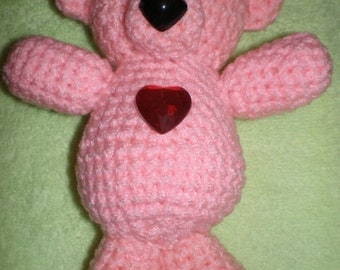 Knit soft toy cute pink Teddy bear. The perfect gift. The toy is handmade.