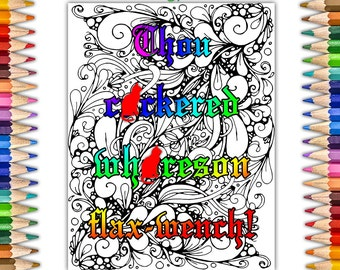 Thou Cckered Whreson FlaxWench Shakespearean Sweary Coloring Book Pages For Adults Offensive