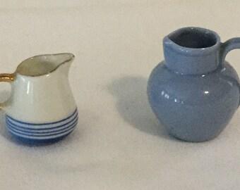 2 Antique Miniature Blue & White Pitcher