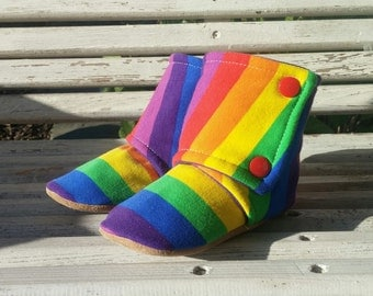 12-18m ~ Rainbow Stripes ~ Schnookie's High Top Soft Soled Shoes