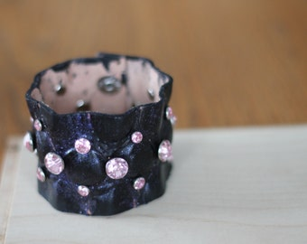 Black Leather Bling Cuff Bracelet- Pink Rhinestones