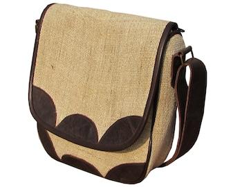Leather Handbag Hemp Tote Bag Purse Shoulder Bag for Women