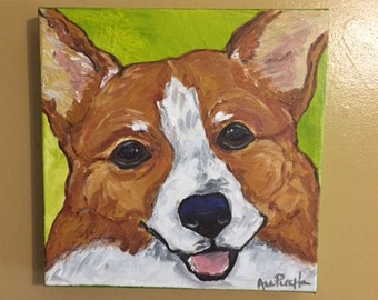 Corgi Portrait, 10x10 acrylic painting on canvas by Ana Peralta