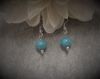 Turquoise Bead Earrings with Silver Ear Wires