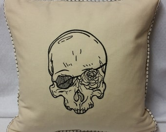 Handmade embroidered SKULL cushion cover