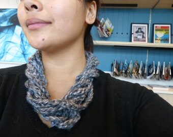 Gray charcoal blend infinity scarf / necklace