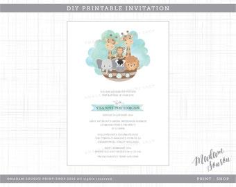 NOAHS ARK PRINTABLE christening / baptism invitation