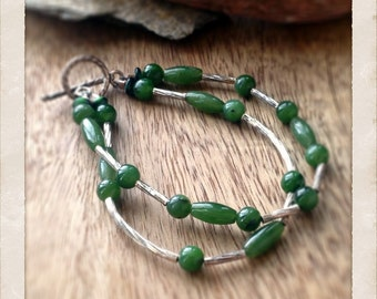 Jade and sterling silver double chain beaded bracelet