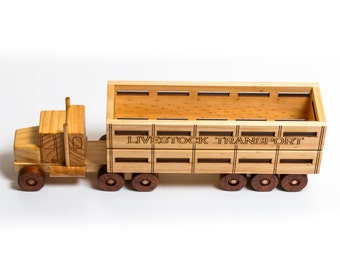 Wooden Toy Cattle Truck - Prime Mover & Cattle Trailer