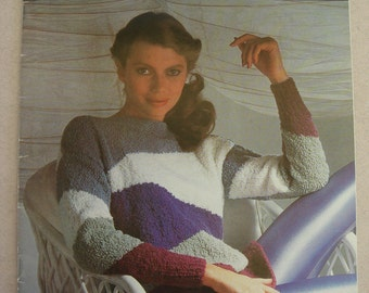 Sirdar Knitting Pattern Book #114 Vintage Astrakhan Jumpers Jackets Skirts Sweaters Dresses