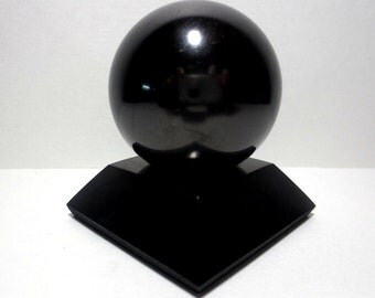Shungite Polished Sphere 40mm Stone With Stand elite crystals mineral